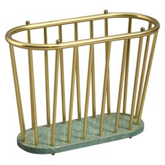 Mid-20th Century Brass and Marble Magazine Rack