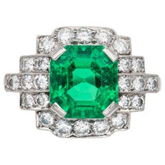 Mid-20th Century Emerald and Diamond Dress Ring