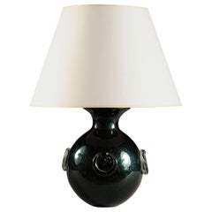 Mid-20th Century Iridescent Dark Green Italian Murano Glass Ball Table Lamp