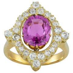Mid-20th Century Pink Sapphire and Diamond Ring