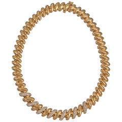 Midcentury 18 Carat Yellow Gold and Diamond Necklace