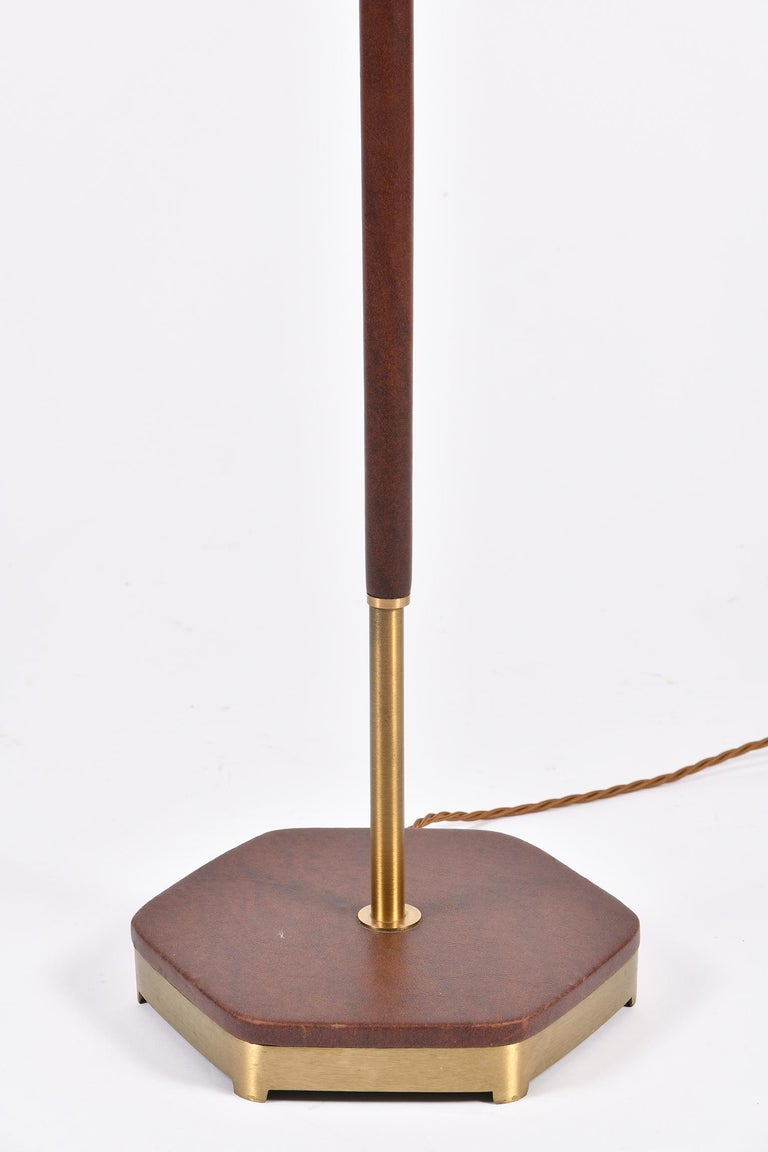 Mid-Century Modern Midcentury Brass and Brown Leather Floor Lamp For Sale