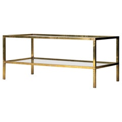 Midcentury Brass Two-Tiered Coffee Table