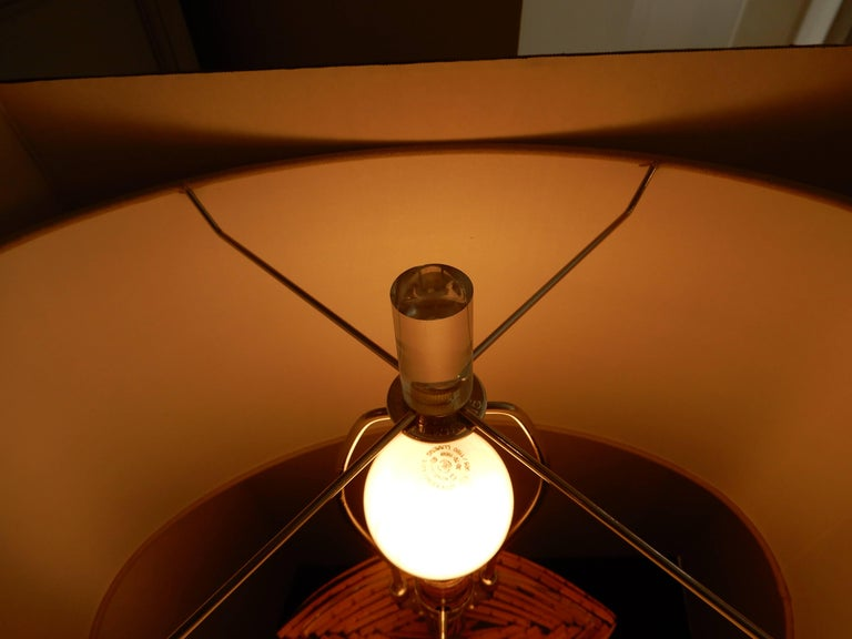 Hand-Crafted Mid-Century Danish Modern Bamboo and Lucite Table Lamp For Sale