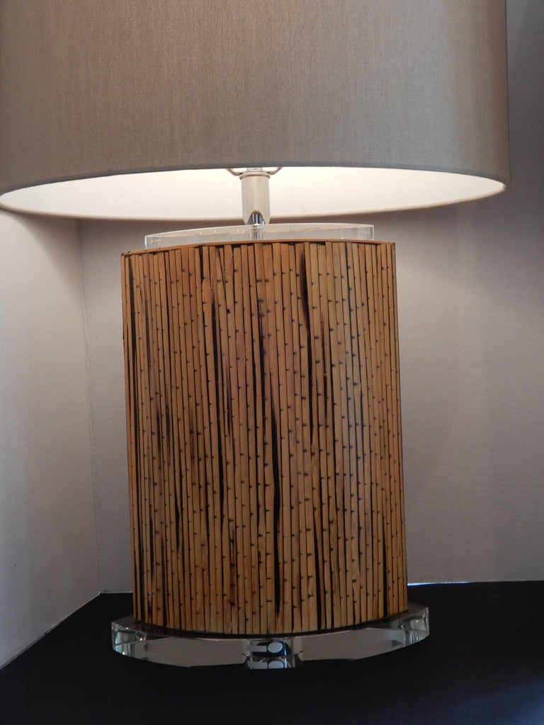 Mid-Century Danish Modern Bamboo and Lucite Table Lamp In Excellent Condition For Sale In Bellport, NY