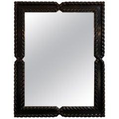 Midcentury Ebonized Oak Mirror by Valenti