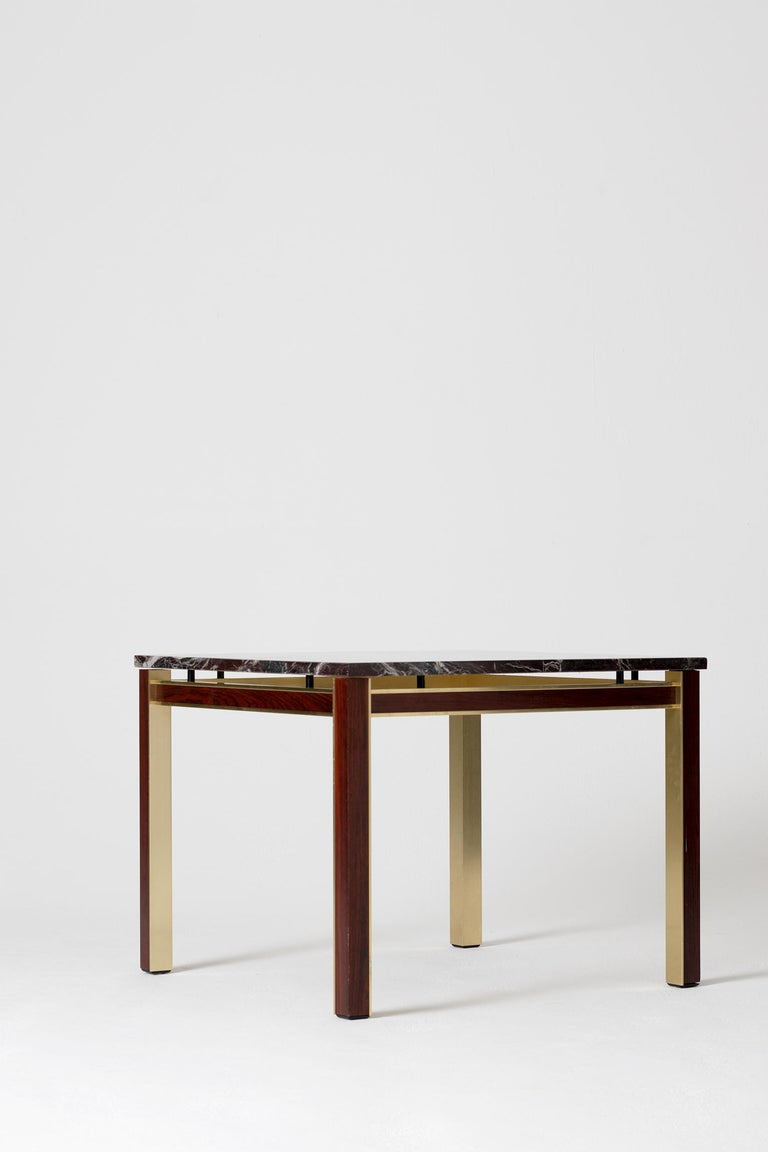 Mid-Century Modern Midcentury Marble Topped Brass Square Side Table For Sale