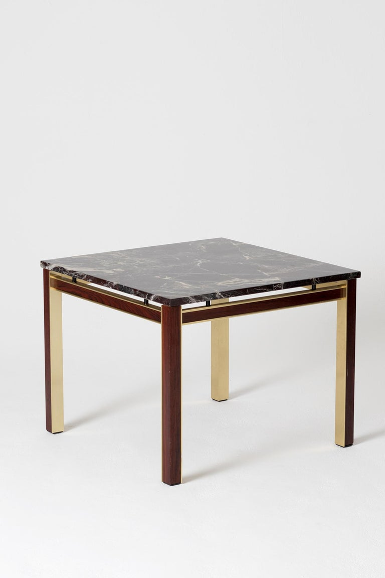 Danish Midcentury Marble Topped Brass Square Side Table For Sale