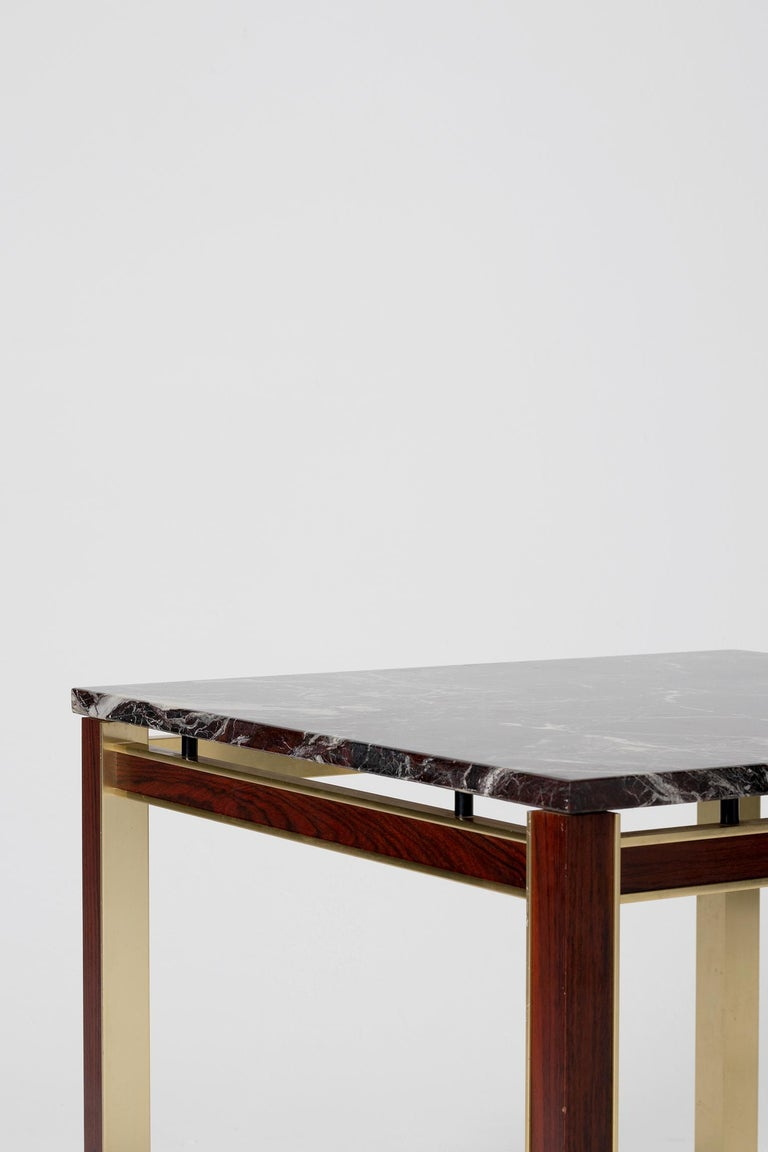 Midcentury Marble Topped Brass Square Side Table In Good Condition For Sale In London, GB