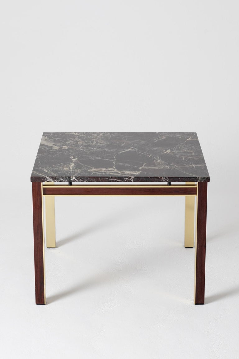 20th Century Midcentury Marble Topped Brass Square Side Table For Sale