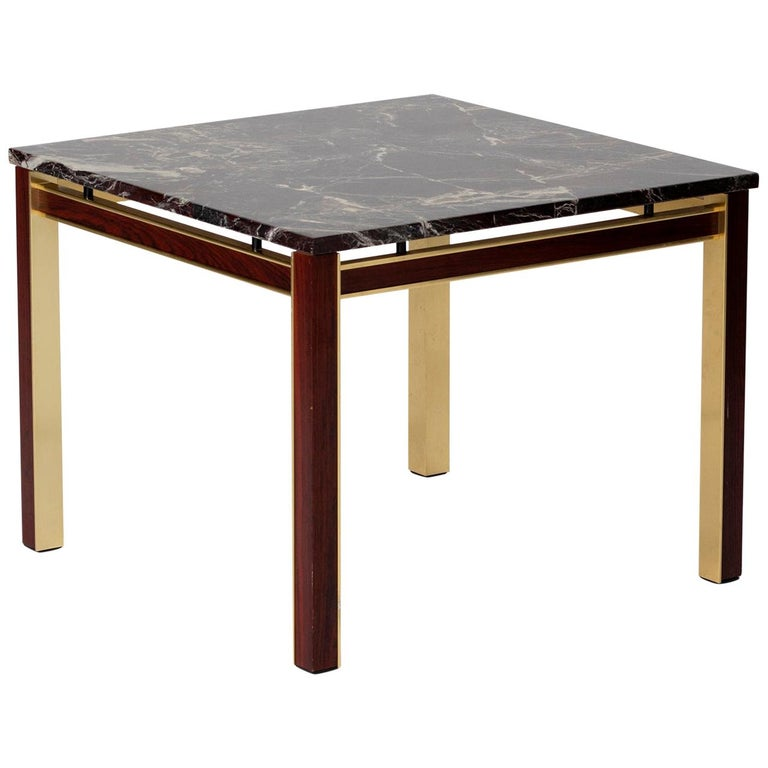 Midcentury Marble Topped Brass Square Side Table For Sale