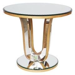 Mid-Century Mirrored Glass Side Table