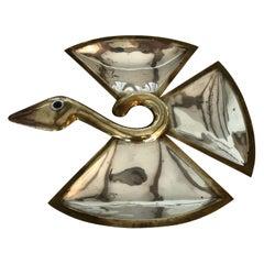 Midcentury Mixed Metals Figural Bird Tray by Los Castillo