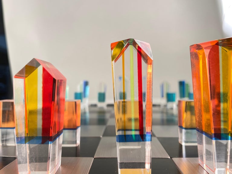 American Mid-Century Modern Acrylic and Aluminum Chess Set by, Charles Hollis Jones For Sale
