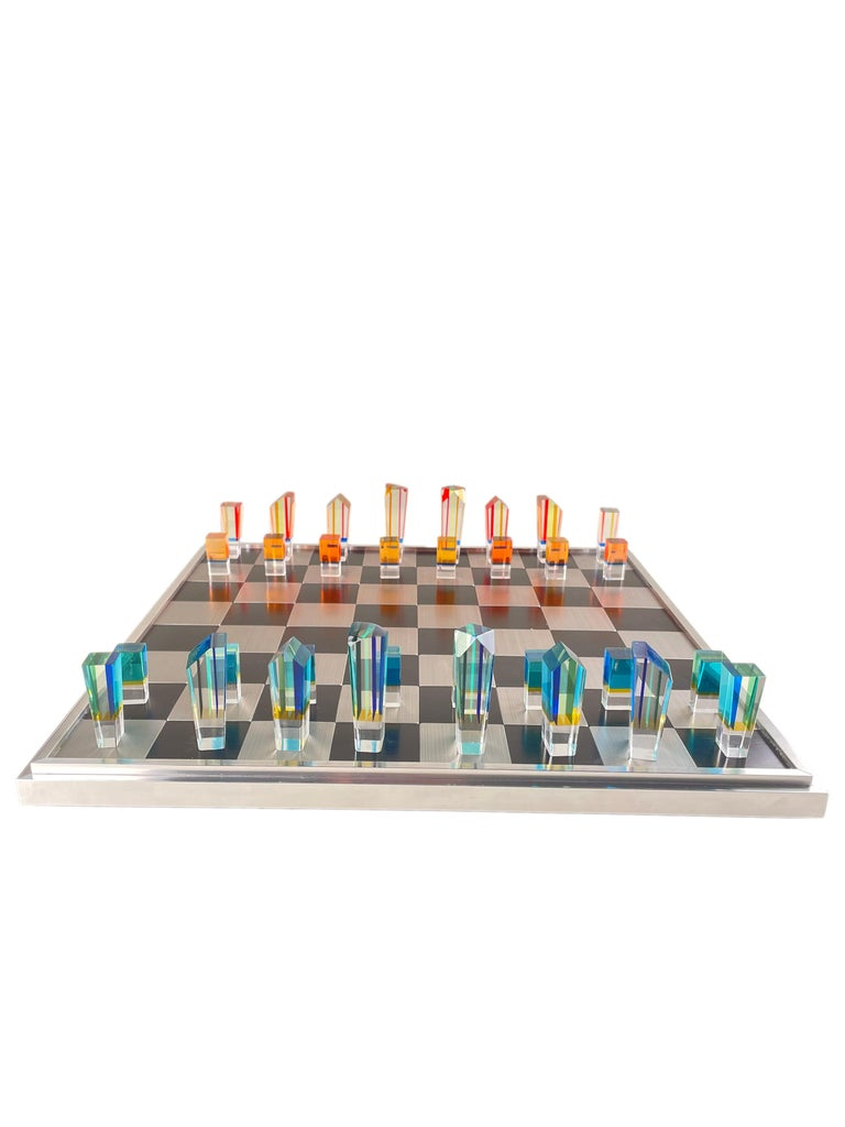 Brushed Mid-Century Modern Acrylic and Aluminum Chess Set by, Charles Hollis Jones For Sale