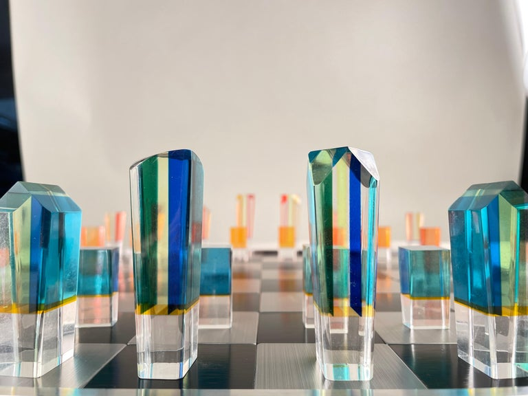 20th Century Mid-Century Modern Acrylic and Aluminum Chess Set by, Charles Hollis Jones For Sale