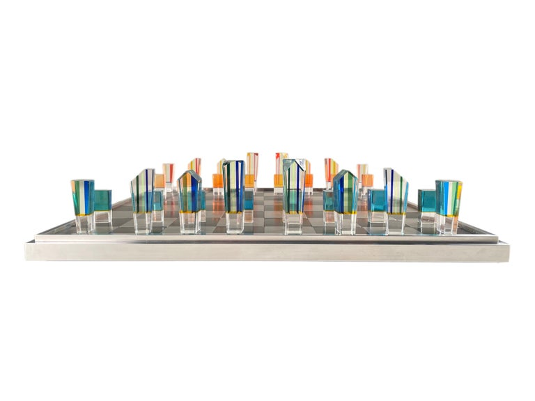 Mid-Century Modern Acrylic and Aluminum Chess Set by, Charles Hollis Jones For Sale 1