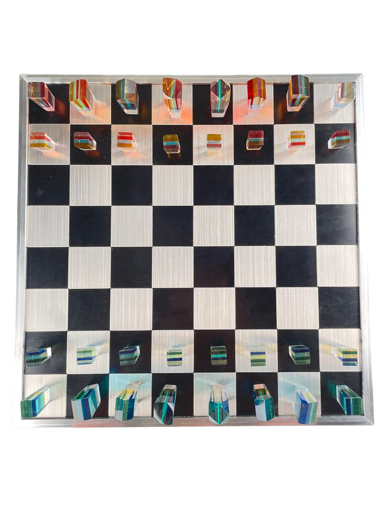 Mid-Century Modern Acrylic and Aluminum Chess Set by, Charles Hollis Jones For Sale 2