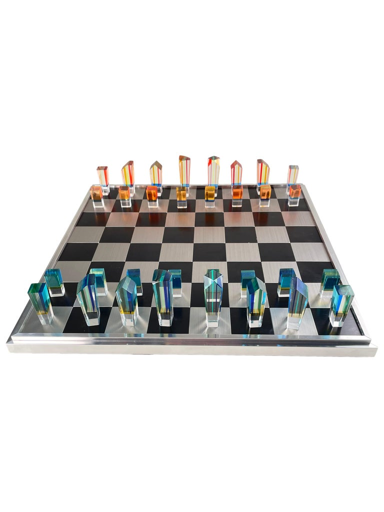 Mid-Century Modern Acrylic and Aluminum Chess Set by, Charles Hollis Jones For Sale 3