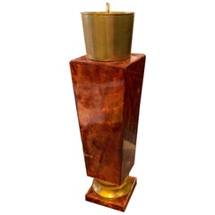 Mid-Century Modern Brass and Red Goatskin Shaker by Aldo Tura, circa 1950