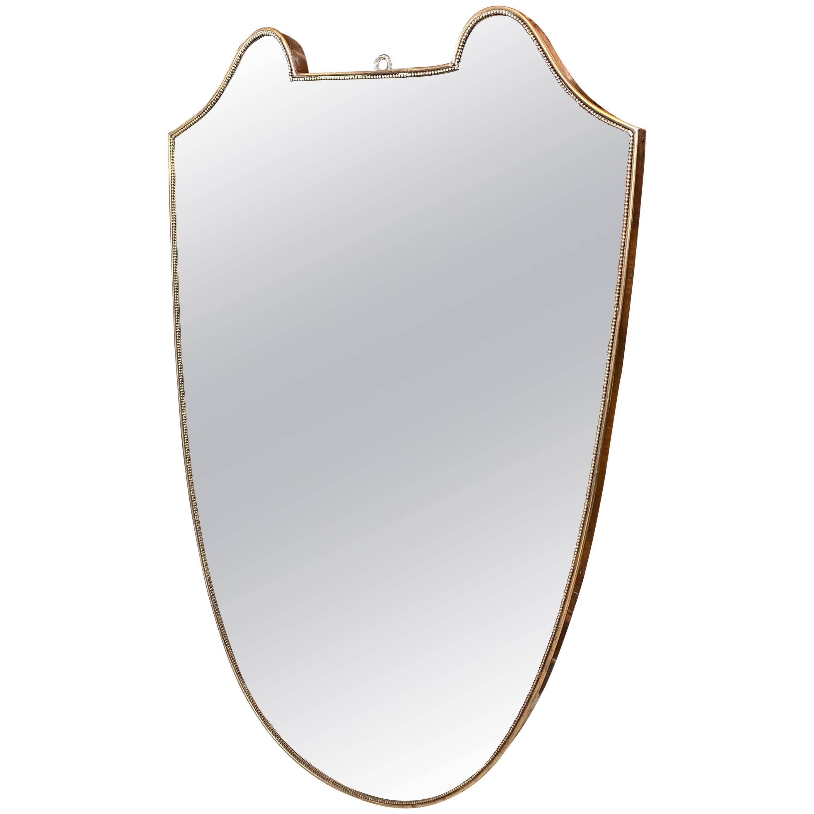 1950s Mid-Century Modern Brass Italian Wall Mirror in the Manner of Gio Ponti