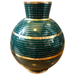 Mid-Century Modern Green and Gold Ceramic Vase in the Manner of Gio Ponti
