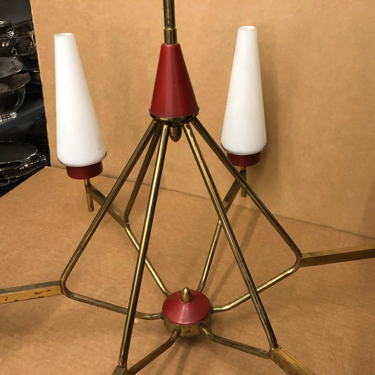 Mid-Century Modern Italian Chandelier in the Style of Stilnovo, circa 1950 For Sale 10