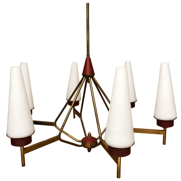 Mid-Century Modern Italian Chandelier in the Style of Stilnovo, circa 1950 For Sale