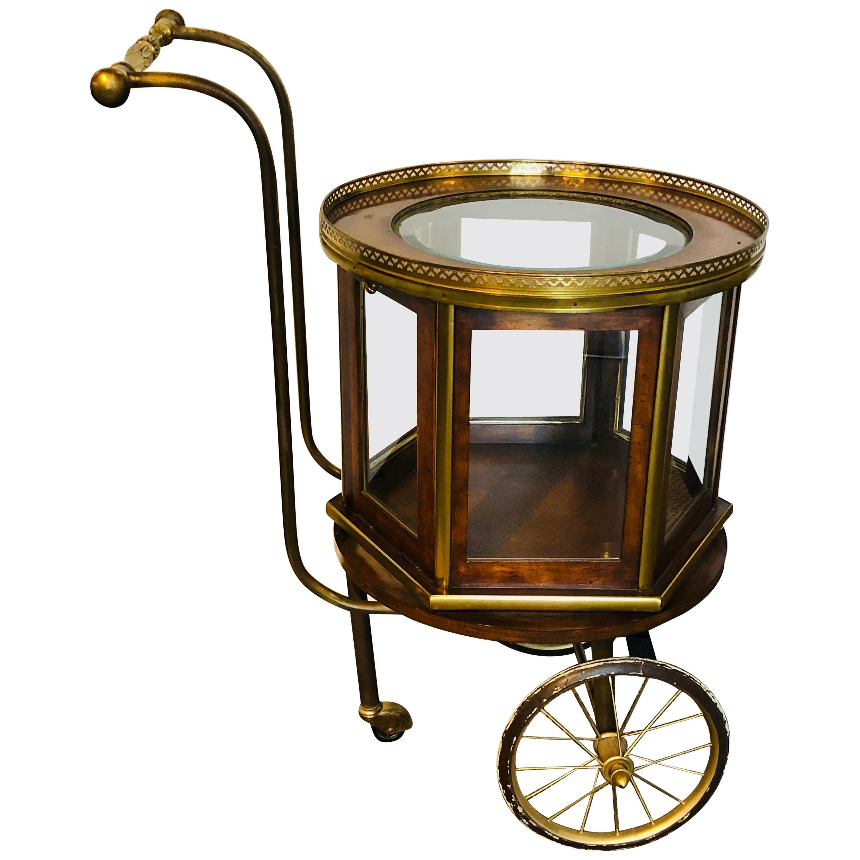 Mid-Century Modern Revolving Serving Cart or Bar Cart Showcase Vitrine