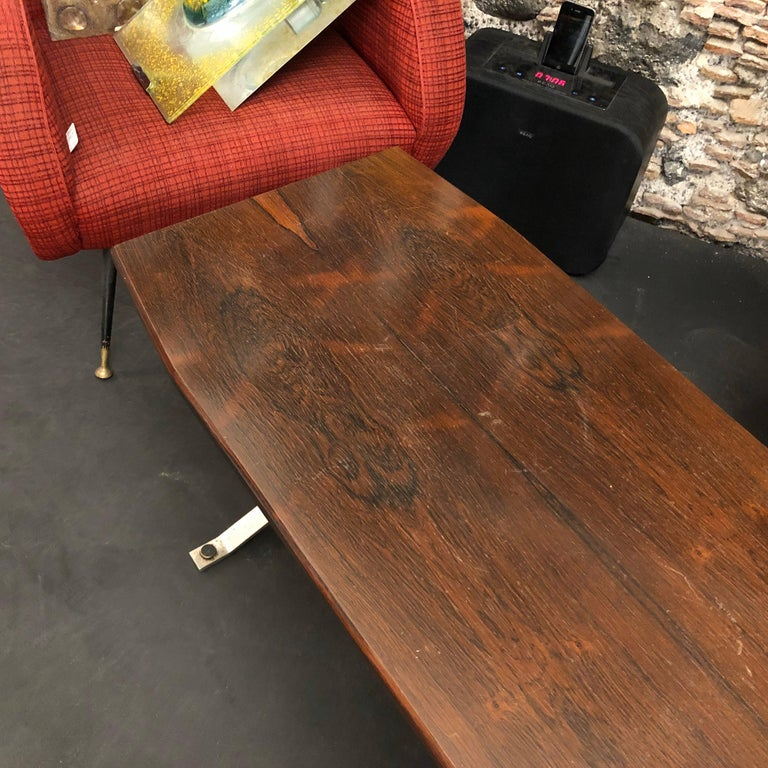Mid-Century Modern Rosewood Rio and Steel Italian Coffee Table, circa 1970 For Sale 5