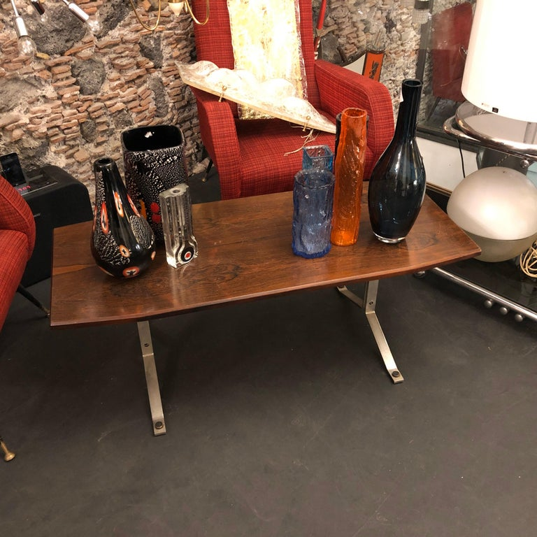 Mid-Century Modern Rosewood Rio and Steel Italian Coffee Table, circa 1970 For Sale 6