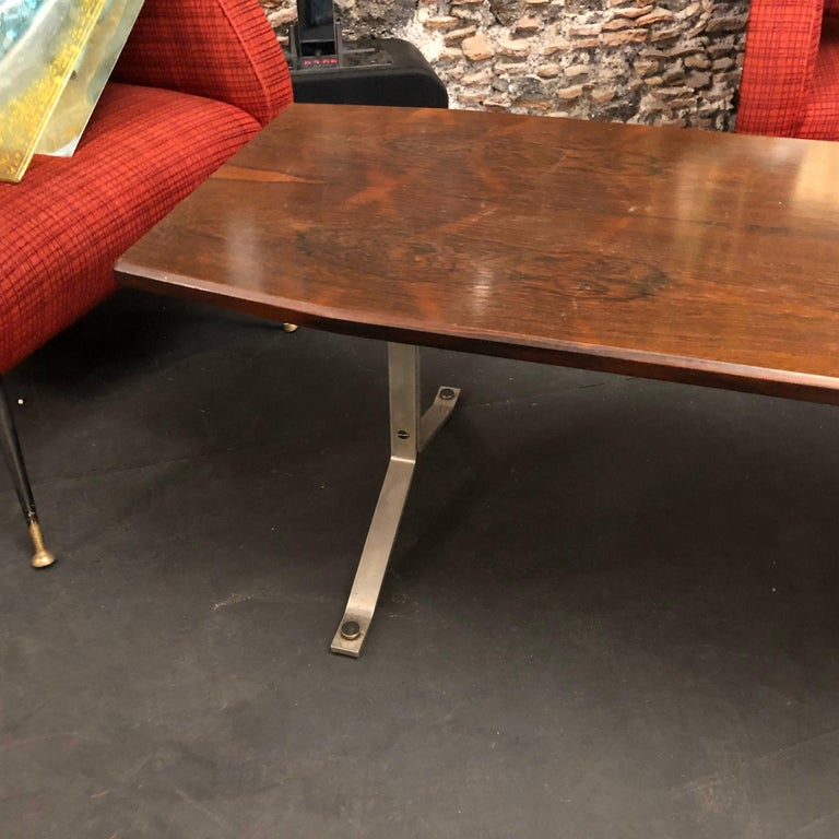 Mid-Century Modern Rosewood Rio and Steel Italian Coffee Table, circa 1970 For Sale 1