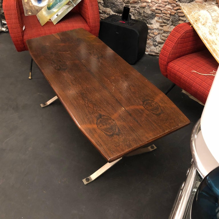 Mid-Century Modern Rosewood Rio and Steel Italian Coffee Table, circa 1970 For Sale 2