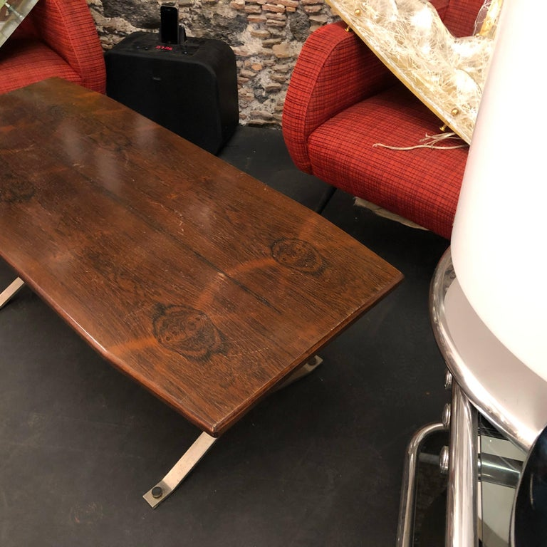 Mid-Century Modern Rosewood Rio and Steel Italian Coffee Table, circa 1970 For Sale 3