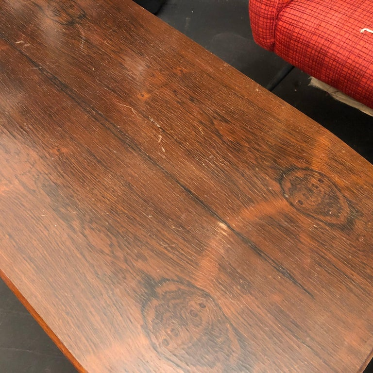 Mid-Century Modern Rosewood Rio and Steel Italian Coffee Table, circa 1970 For Sale 4