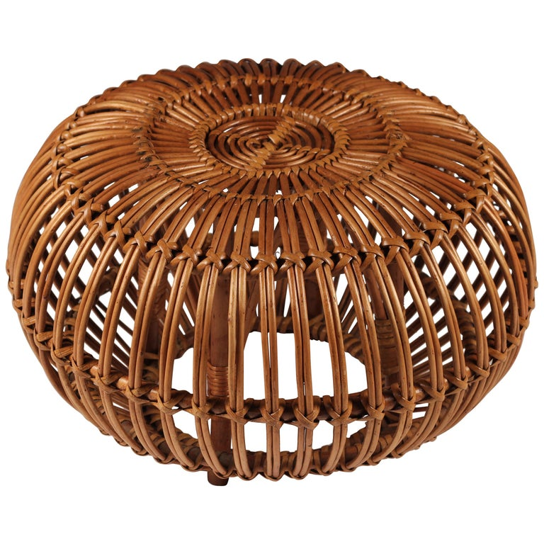 Mid-Century Modern Wicker Ottoman, Stool or Side Table For Sale