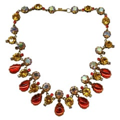 A Mid Century multi coloured paste drop necklace, Austrian, 1950s