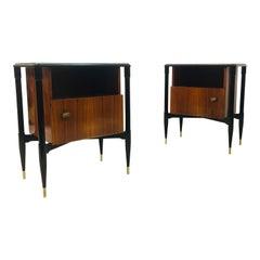 Midcentury Pair of 1950s Italian Bedside Tables Mahogany and Black