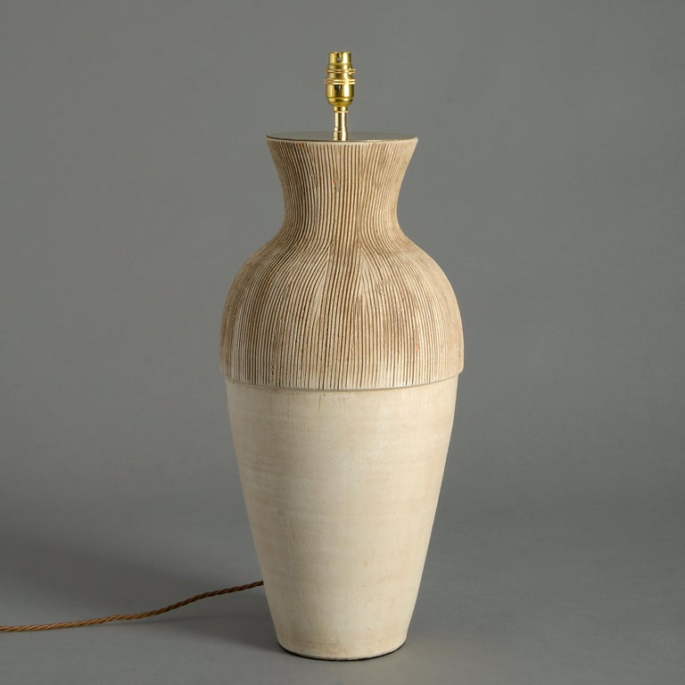 A tall studio pottery ceramic vase of generous proportions, now mounted as a lamp base.