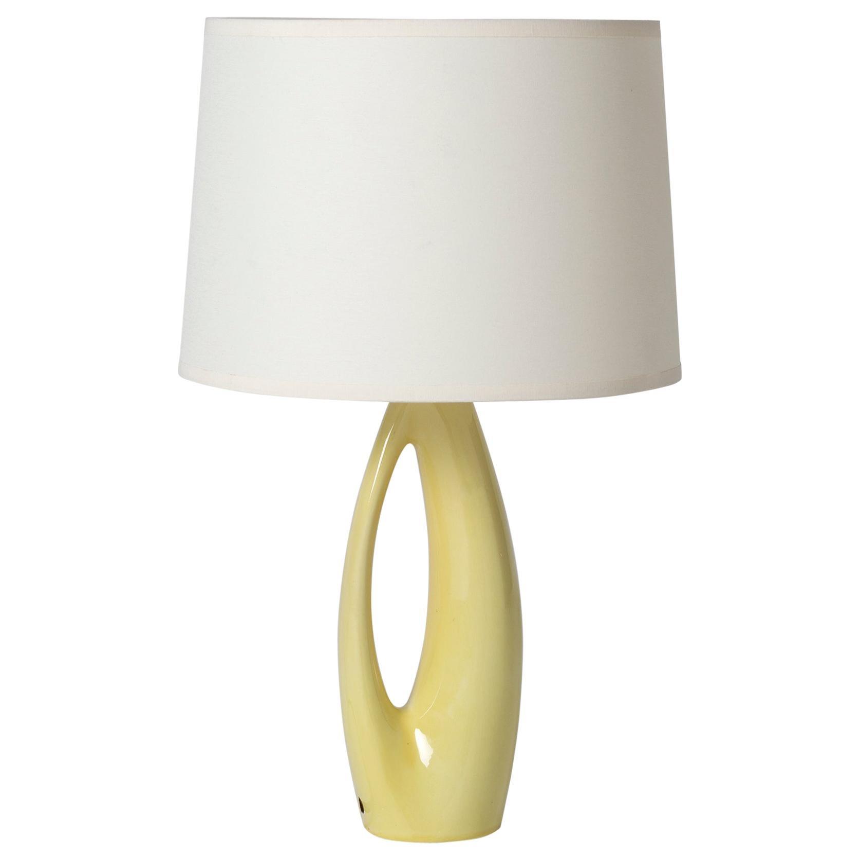 Midcentury Yellow Ceramic Table Lamp by Rörstrand