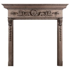 Mid Georgian Style Carved Pine Fireplace