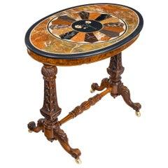 Mid-Victorian Walnut and Pietra Dura Table