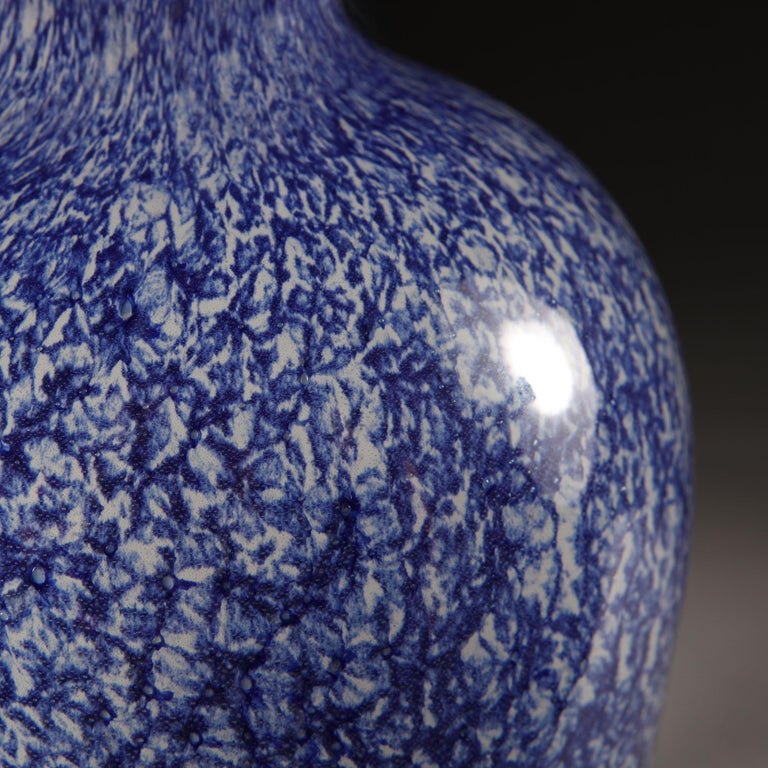 Italian Midcentury Blue and White Murano Glass Vase as a Table Lamp For Sale