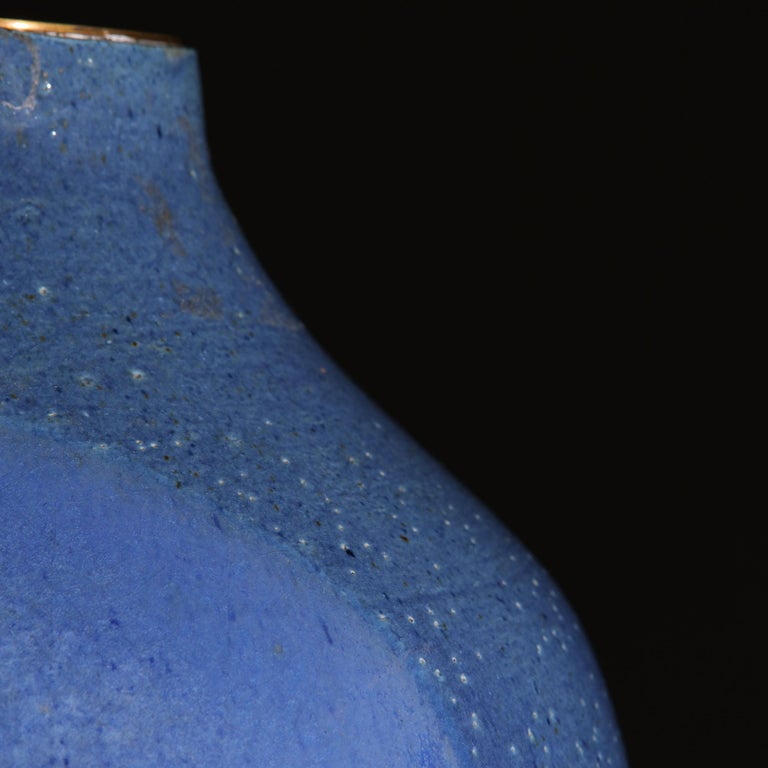 French Midcentury Blue Art Pottery Vase as a Table Lamp For Sale