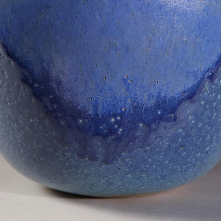Glazed Midcentury Blue Art Pottery Vase as a Table Lamp For Sale