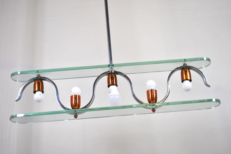 Midcentury Italian Chandelier in at the Style of Gio Ponti for Fontana Arte 4
