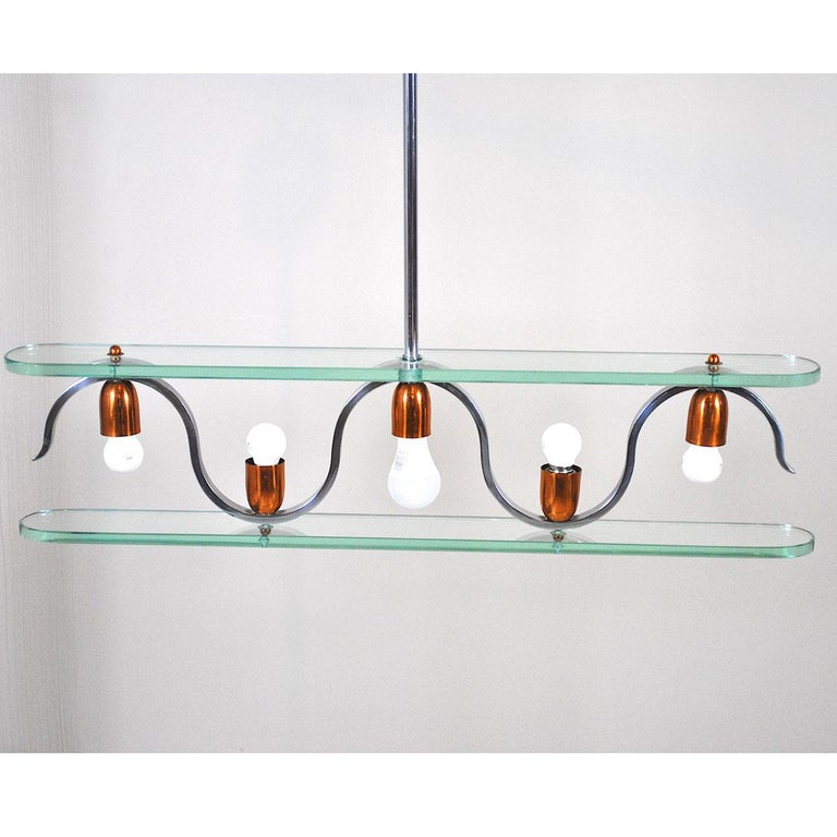 Mid-Century Modern Midcentury Italian Chandelier in at the Style of Gio Ponti for Fontana Arte