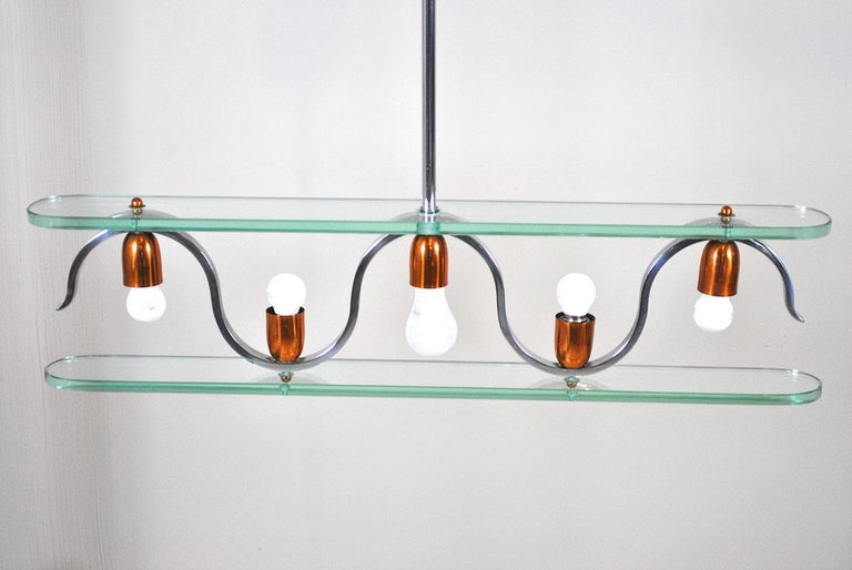 Midcentury Italian Chandelier in at the Style of Gio Ponti for Fontana Arte In Good Condition In bari, IT