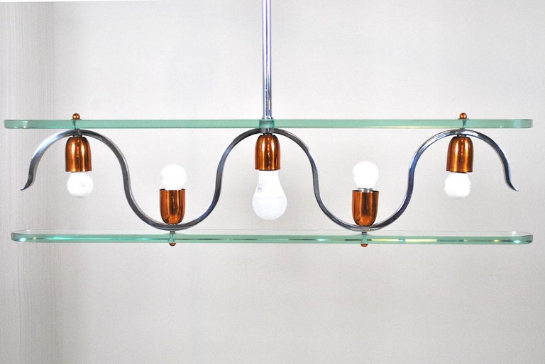 Mid-20th Century Midcentury Italian Chandelier in at the Style of Gio Ponti for Fontana Arte