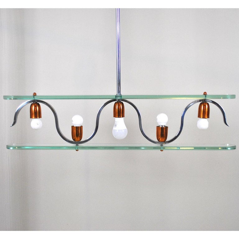 Copper Midcentury Italian Chandelier in at the Style of Gio Ponti for Fontana Arte